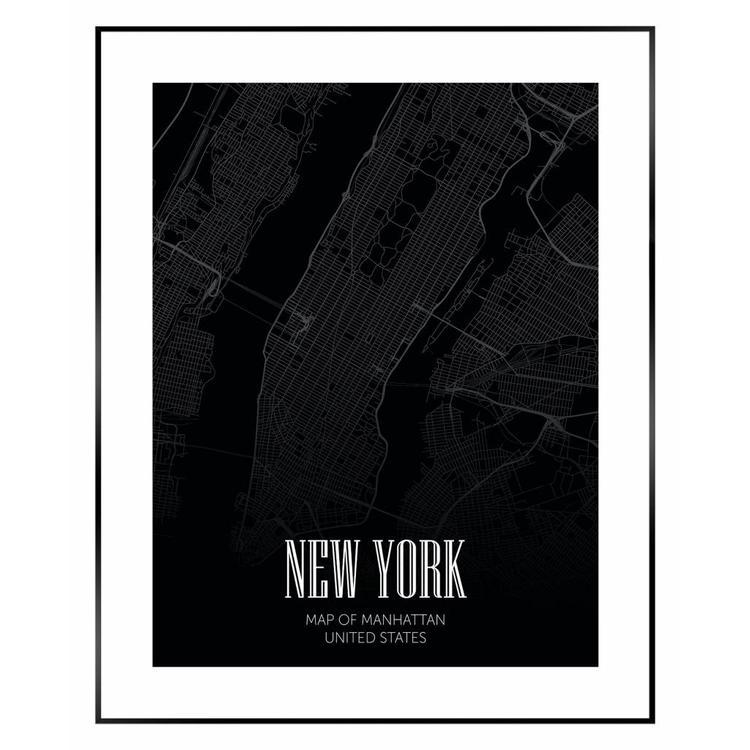 Kaart Manhattan  - Schilderij 40 x 50 cm