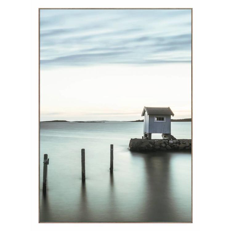 Hut aan het meer  - Schilderij 50 x 70 cm