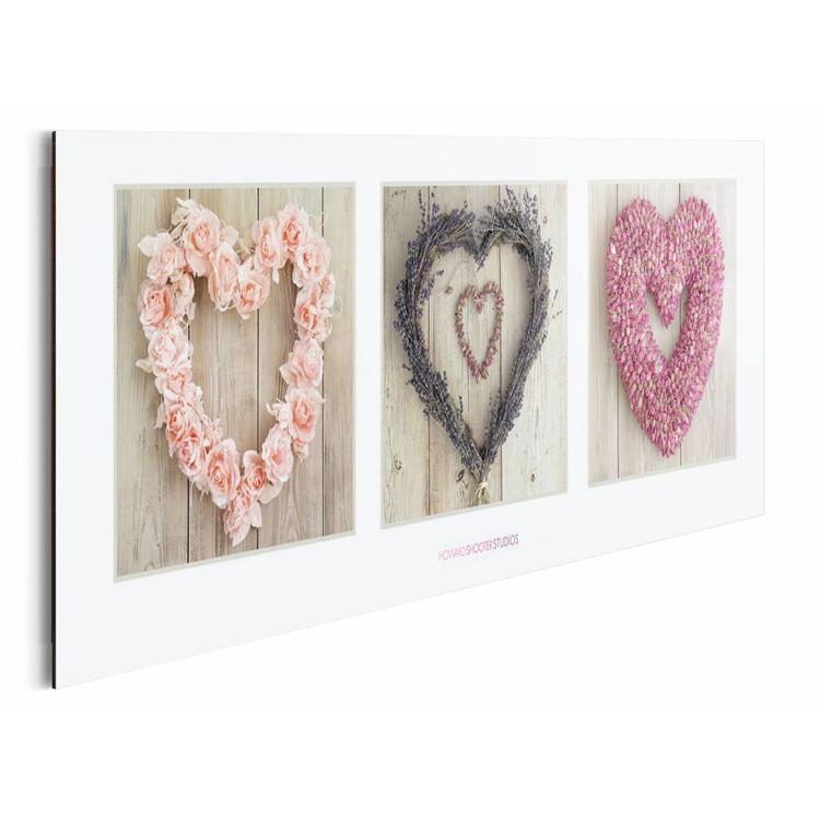 Liefdes harten Op hout - Schilderij 90 x 30 cm