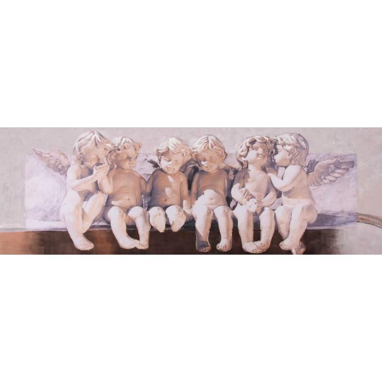 Engeltjes Klassieke Engelbeeldjes - Schilderij 150 x 50 cm