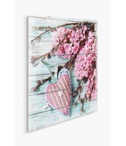 Schilderij Bloemenhart Romantisch Roze 2