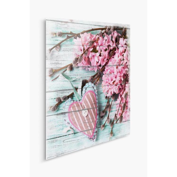 Bloemenhart Romantisch Roze 2 - Schilderij 30 x 30 cm