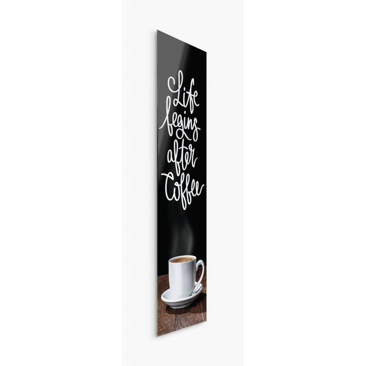Eerst een bakje koffie Inspirerende tekst - Schilderij 33 x 95 cm