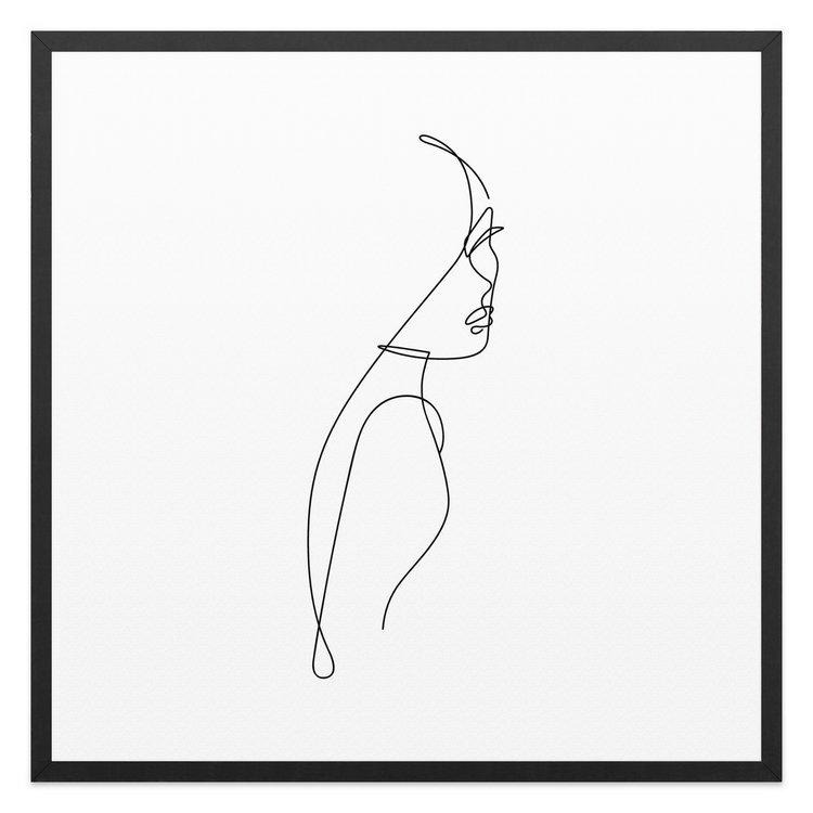 Vrouwelijke Silhouette - Schilderij 53 x 53 cm