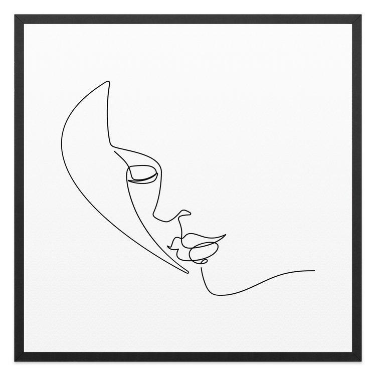 Silhouette van een gezicht - Schilderij 53 x 53 cm