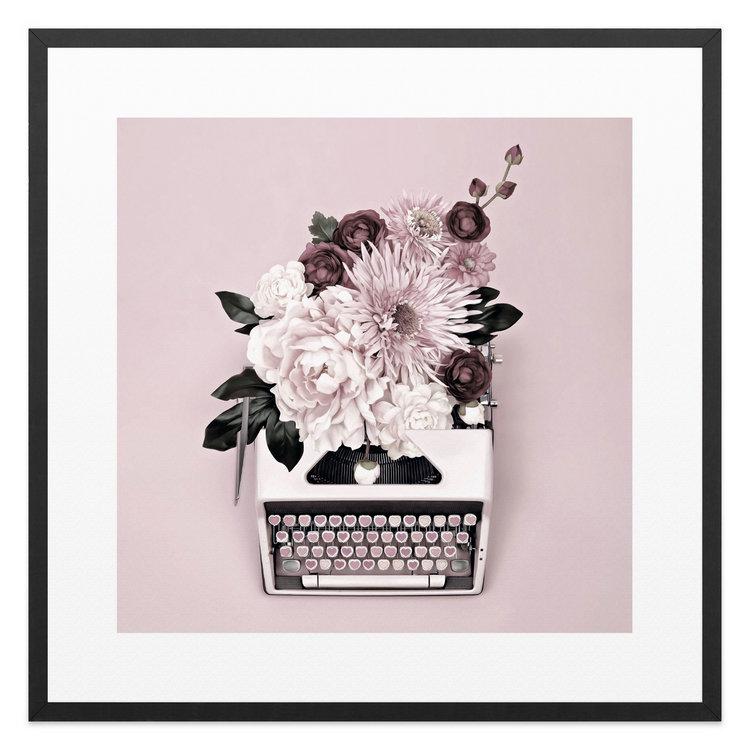 Typmachine met bloemen - Schilderij 53 x 53 cm