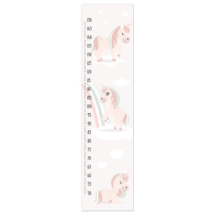 Groeimeter eenhoorn Unicorn - Kinderkamer - Paard - Regenboog - Schilderij 30 x 120 cm