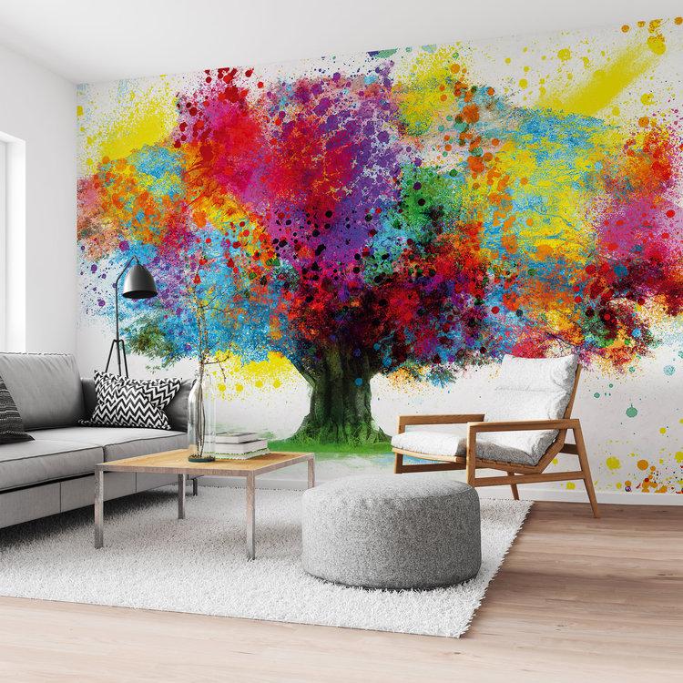 Boom in Aquarel Fleurig - Natuur - Kunst - Kleurrijk - Fotobehang Vlies 384 x 260 cm