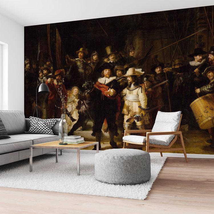De Nachtwacht Rembrandt van Rijn - Oude Meesters - Rijksmuseum  - Fotobehang 384 x 260 cm Vlies