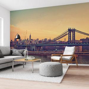Fotobehang Manhattan Bridge New York - Brooklyn - avondzon - Skyline