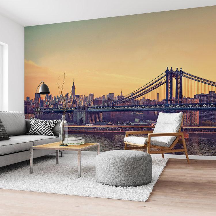 Manhattan Bridge New York - Brooklyn - avondzon - Skyline  - Fotobehang 384 x 260 cm Vlies