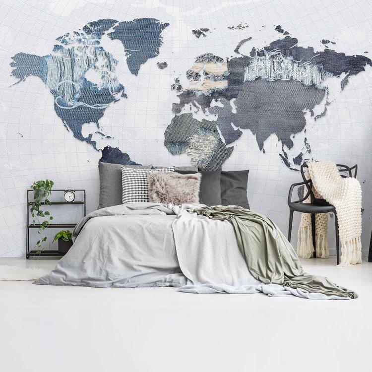 Denim Wereldkaart Spijkerbroek - Blauw- Jeanslook  - Fotobehang Vlies 384 x 260 cm