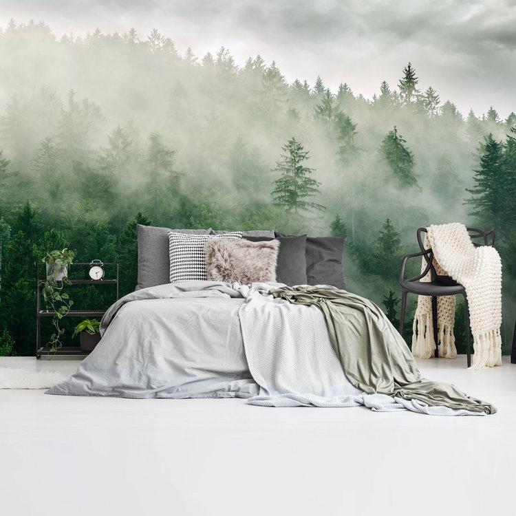 Mistige heuveltop Bos - Nevelig - Woud - Natuur  - Fotobehang Vlies 384 x 260 cm