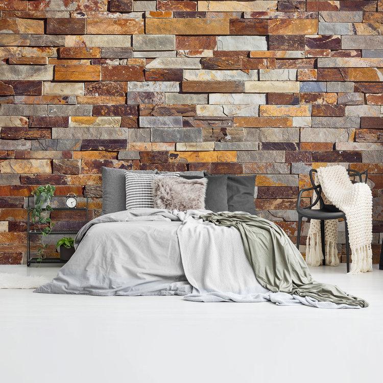 Natuurstenen muur Ruw - Leisteen - Roestbruin  - Fotobehang 384 x 260 cm Vlies
