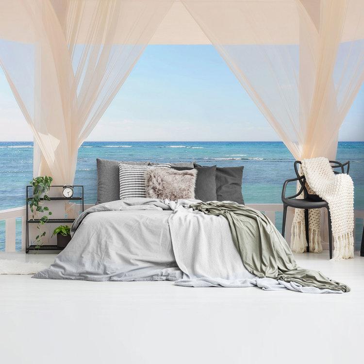 Balkon met zeezicht Vakantie - Rust - Oceaan - Zeebries  - Fotobehang 384 x 260 cm Vlies