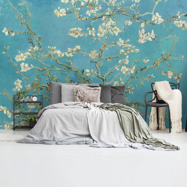 Amandelbloesem Vincent van Gogh - Bloemen - Almondblossom - Blauw  - Fotobehang Vlies 384 x 260 cm