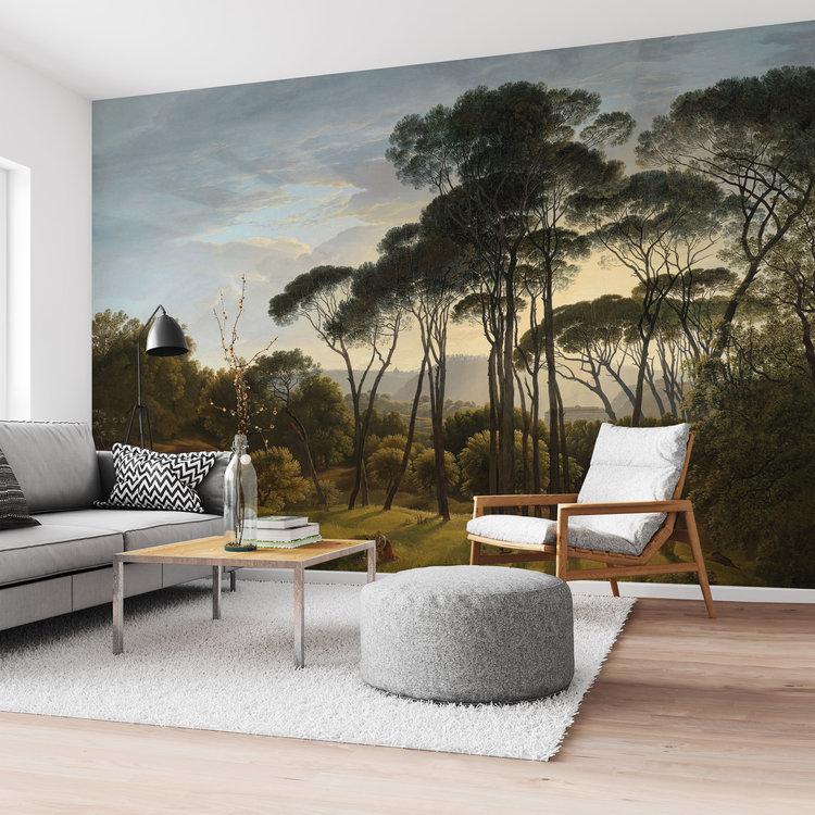Italiaans Landschap Oude Meester - Hendrik Voogd - Villa Borghese - Rome  - Fotobehang 384 x 260 cm Vlies