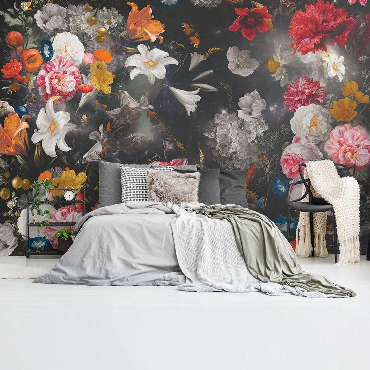 Bloemenwereld Zwart  Kleurrijk - Bloemen - Planten - Fotobehang Vlies 384 x 260 cm
