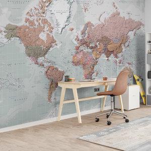 Fotobehang Wereldkaart - decor Nederlandstalig