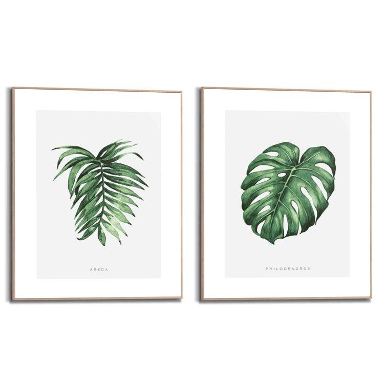 Natuurmotief Philodendron - Monstera - Palmboom - Plant - Bladeren   - Set van twee schilderijen 40x50 cm  Hout