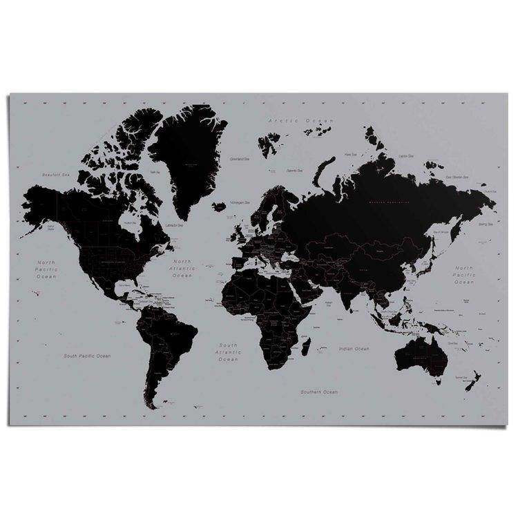 Wereldkaart zilver  - Poster 91.5 x 61 cm