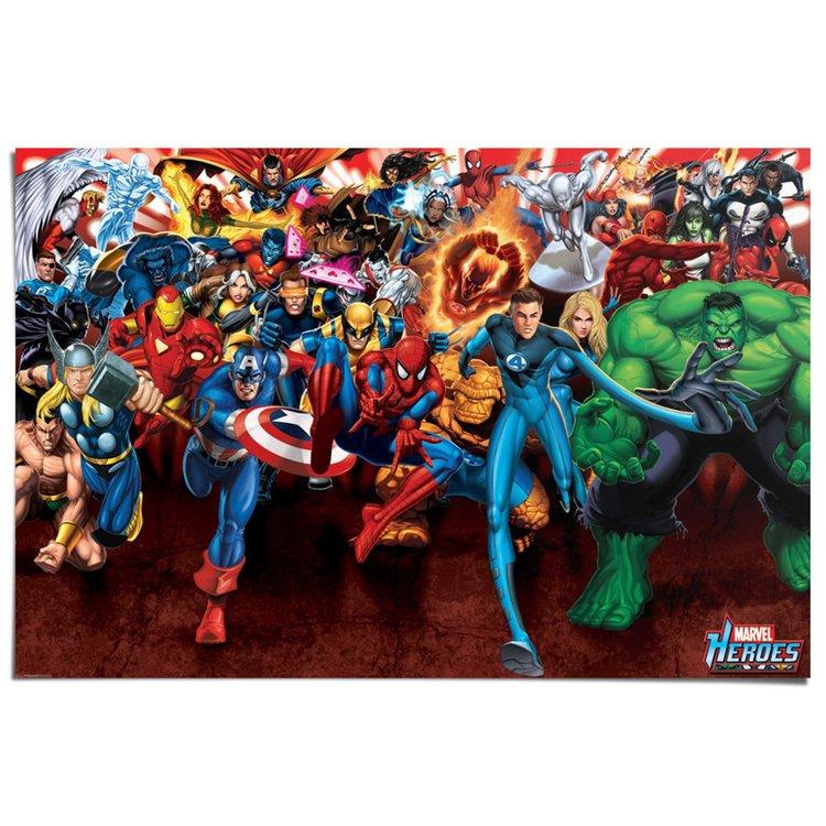Marvel Heroes aanval  - Poster 91.5 x 61 cm