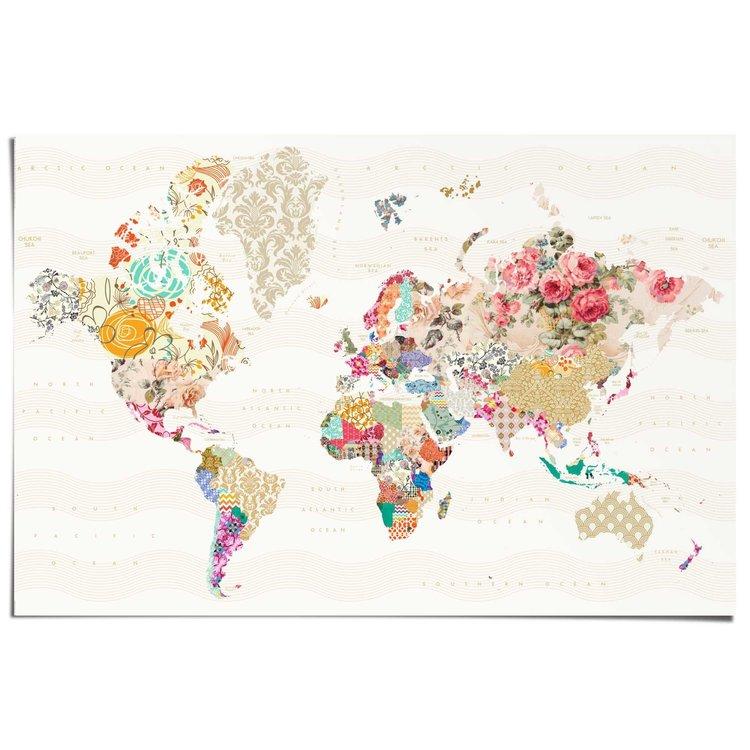 Wereldkaart  - Poster 91.5 x 61 cm