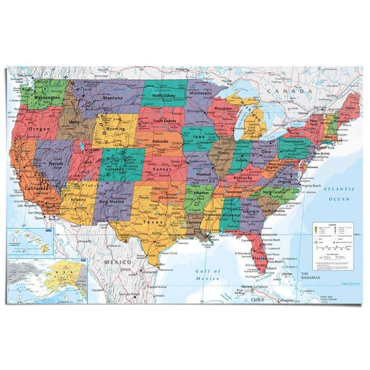 Kaart USA staatkundig  - Poster 91.5 x 61 cm