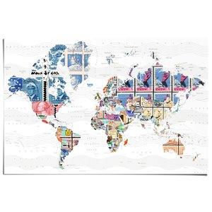 Poster Wereldkaart postzegels
