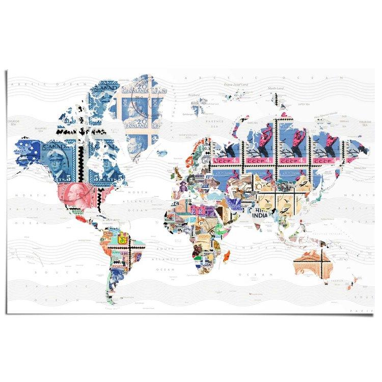 Wereldkaart postzegels  - Poster 91.5 x 61 cm