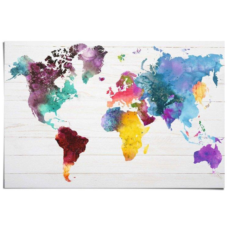 Wereldkaart aquarel  - Poster 91.5 x 61 cm