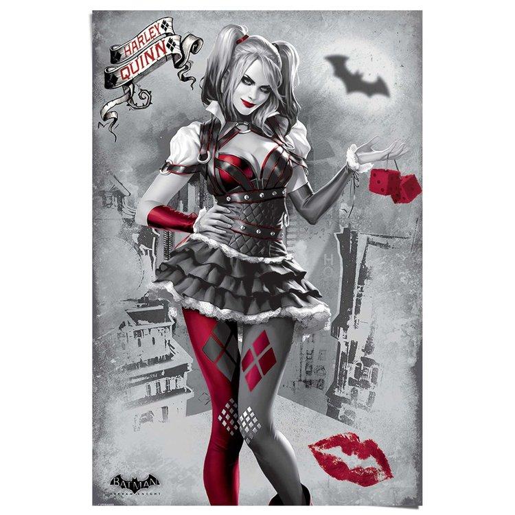 Batman Arkham Knight Harley Quinn zwart wit - Poster 61 x 91.5 cm