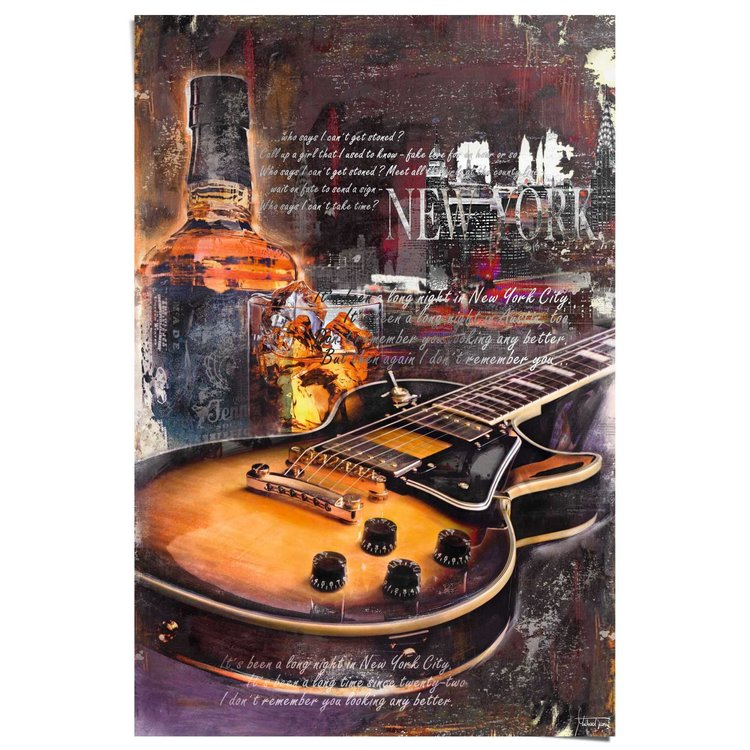 Gitaar en whisky  - Poster 61 x 91.5 cm