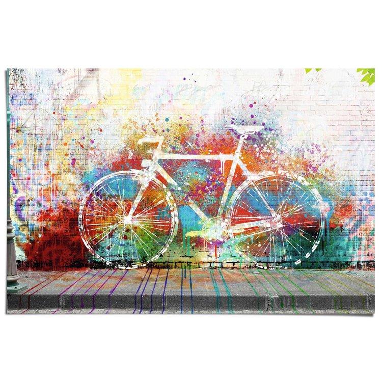 Fiets graffiti  - Poster 91.5 x 61 cm