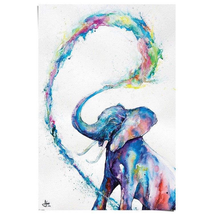 Olifant aquarel - Poster 61 x 91.5 cm