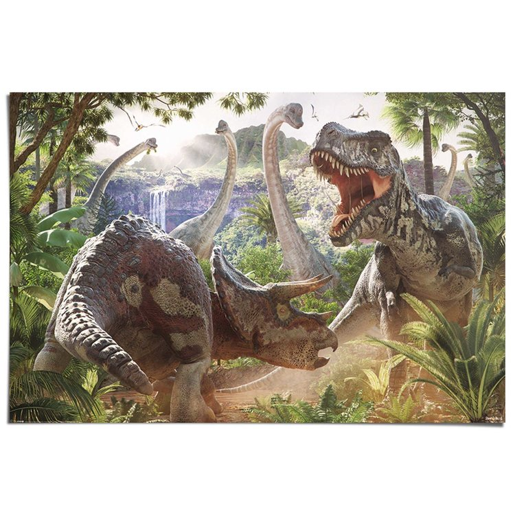 Dinosauriers in gevecht  - Poster 91.5 x 61 cm