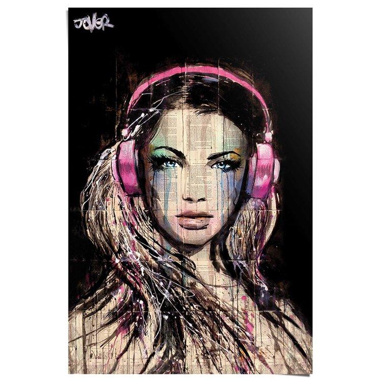 Loui Jover - dj girl  - Poster 61 x 91.5 cm