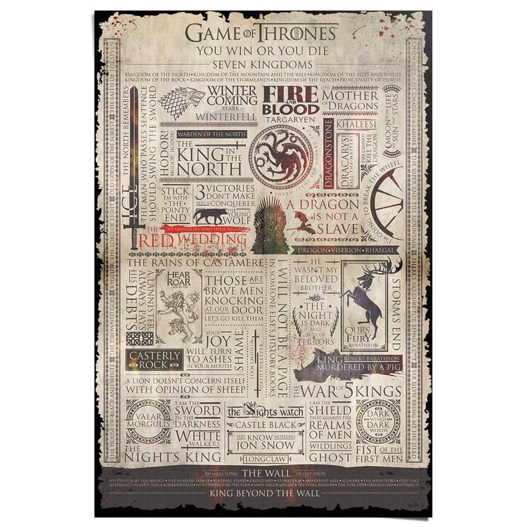 Game of Thrones  Infographic - Poster 61 x 91.5 cm