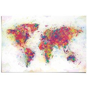 Poster Wereldkaart verfspetters