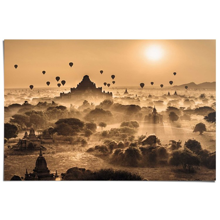 Zonsopgang bij tempels  - Poster 91.5 x 61 cm