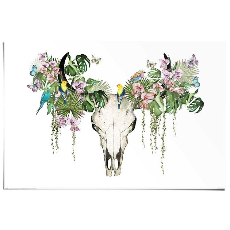 Buffel schedel in het groen  - Poster 91.5 x 61 cm