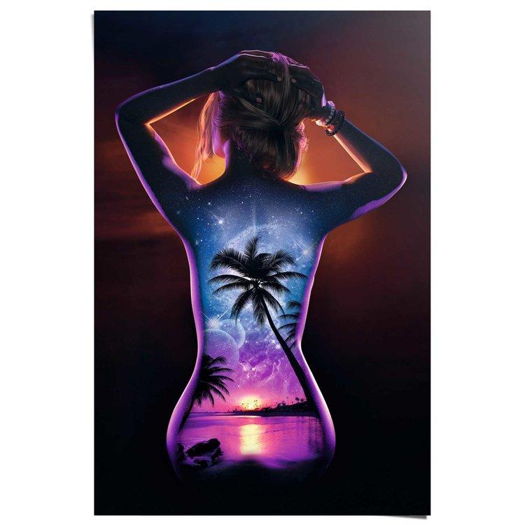 Vrouw - Bodypaint rug  - Poster 61 x 91.5 cm