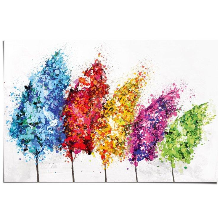 Kleurrijke aquarel bomen - Poster 91.5 x 61 cm