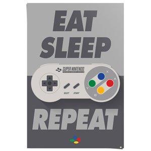 Poster Nintendo eat sleep repeat