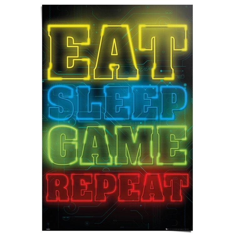 Eat Sleep Game Repeat - Poster 61 x 91.5 cm