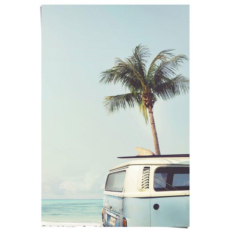 Vintage Summer Palmboom en Busje - Poster 61 x 91.5 cm