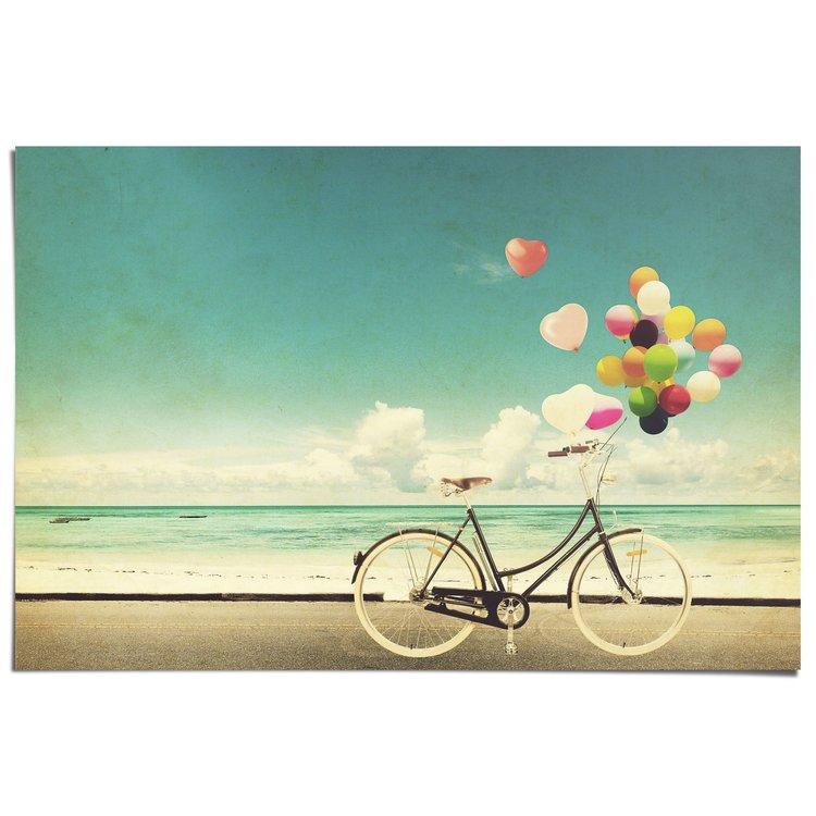 Fiets en Ballonnen - Poster 91.5 x 61 cm