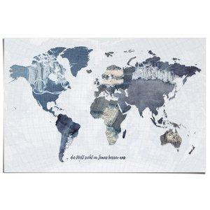 Poster Wereldkaart Denim Duits