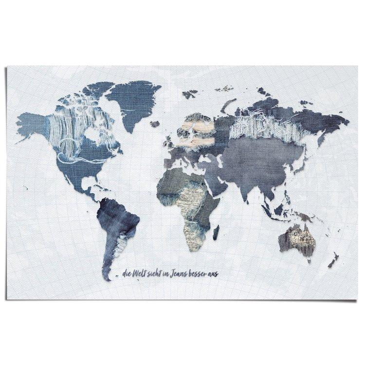 Wereldkaart Denim Duits - Poster 91.5 x 61 cm