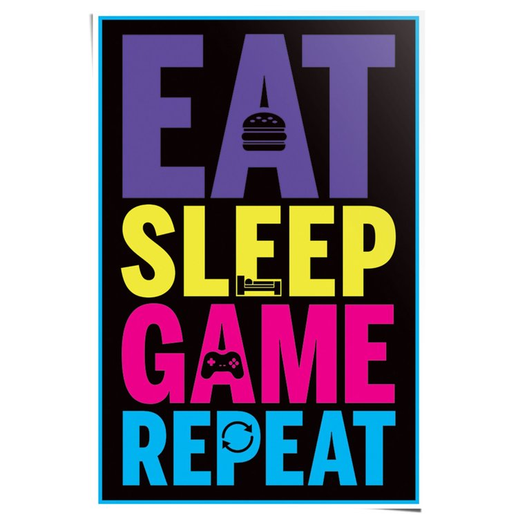 Eat Sleep Game Repeat - Poster 61 x 91.5 cm